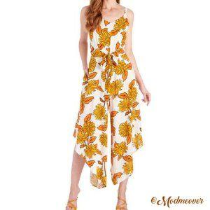 Floral Cropped Wide Leg Asymmetrical Hem Jumpsuit